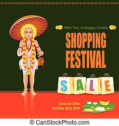 King Mahabali in Onam shopping festival - easy to edit...