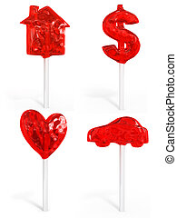 set of sweet candy house dollar heart and car isolated 3d...
