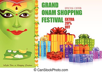 Onam shopping festival - easy to edit vector illustration of...
