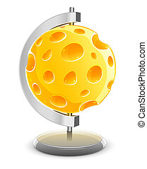 globe planet made of yellow porous cheese with holes