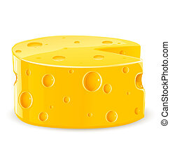 piece of cheese isolated food on white
