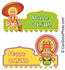 Happy Onam background - easy to edit vector illustration of...