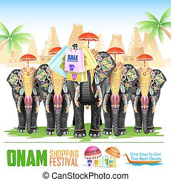 Decorated elephant for Happy Onam - easy to edit vector...