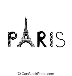 PARIS sign with Eiffel Tower