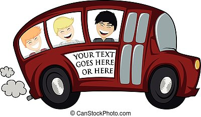 Cool bus - Funny illustration of a school bus with children...