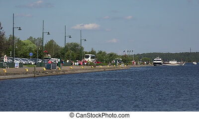 Marina, the harbour in Lappeenranta Finland Shot in 4K...