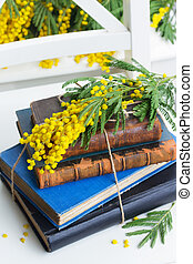 pile of old books - stack of vintage old books with yellow...