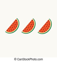 Watermelon slice cut with seed in a row set Flat design icon Summer background Isolated