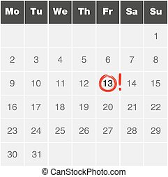 Month calendar monday to sunday with red marked Friday 13th...