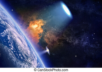 Ufo explores planet Earth - Fantastic background - ufo with...