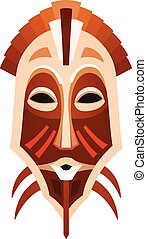 African tribal mask design with ethnic pattern
