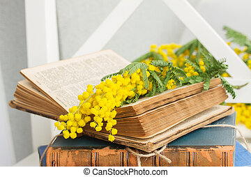 pile of old books - open vintage old book with yellow french...