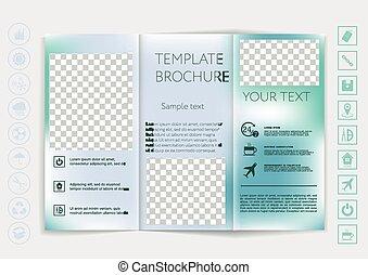 Tri-Fold Brochure mock up vector design. Smooth unfocused...