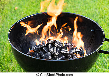 Burning Charcoal in a Grill