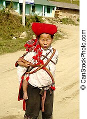 Hmong woman and baby flowers