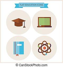 Flat Education Website Icons Set
