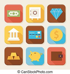 Flat Finance and Banking Squared App Icons Set