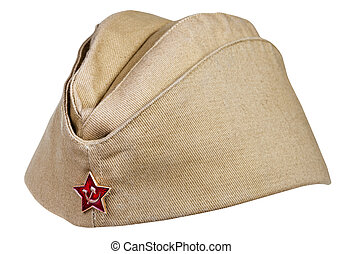 military field cap with soviet red star isolated