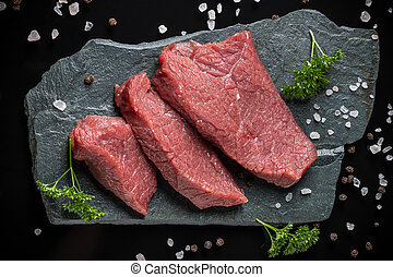 Beef meat - Crude beef meat on stone surface