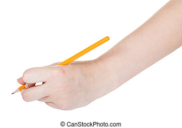 hand draws by lead pencil isolated on white background