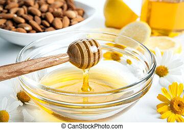still life of honey - Still life of honey, tableware,...