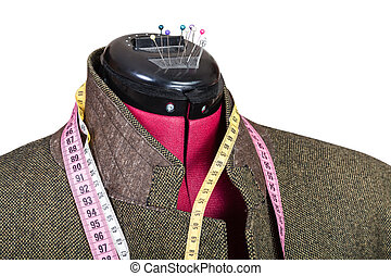 tailoring of man tweed jacket on dummy isolated on white...