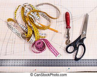 patrón, sastrería, corte, herramientas, tabla