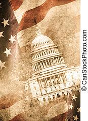 Capitol - old capitol washington D.C. in retro design look