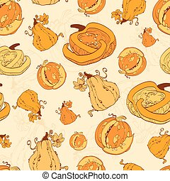 Vector Autumn Pumpkins Harvest Seamless Pattern Pumpkin...