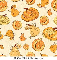 Vector Autumn Pumpkins Harvest Seamless Pattern. Pumpkin...