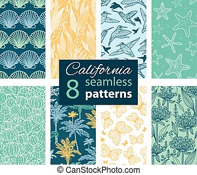 Vector California Nature Eight Set Seamless Pattern....