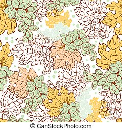 Vector Fall Grapes Harvest Seamless Pattern. Wine pastel...