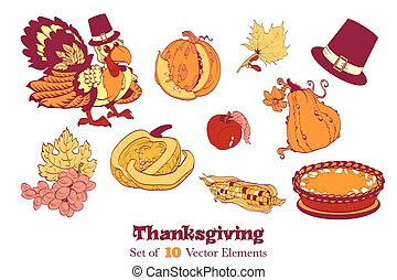 Ten Thanksgiving Design Elements. Turkey pumpkin corn pie...