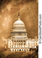 Capitol - old capitol washington DC in retro design look