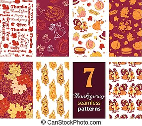 Vector Thanksgiving Turkey Pumpkins Seven Set Seamless...