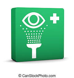 Wash Eye Sign - Green wash eye sign on a white background...