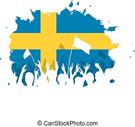 Celebrating Crowd with Sweden flag