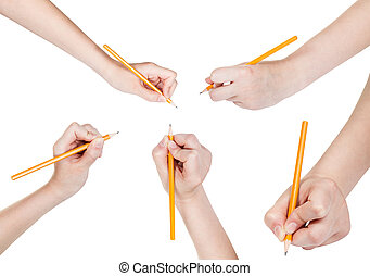 set of hands draw by lead pencil isolated on white...