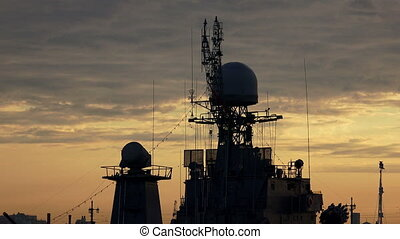 Antennas warship. Shot in 4K (ultra-high definition (UHD)),...