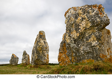 Menhir alignment in Brittany, France