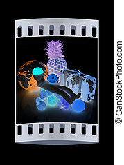 3d man with citrus,earth and traveler's suitcase. The film strip