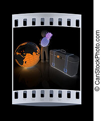 3d man with pineapple,earth and traveler's suitcase. The film strip