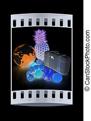 Citrus,earth and traveler's suitcase. The film strip