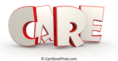 Care word with white background image with hi-res rendered...