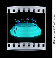 3D glossy podium with gold handrail . The film strip - 3D...