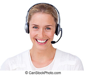 Smiling customer service agent looking at the camera