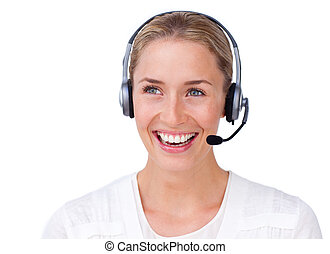 Sparkling busineswoman talking on a headset against a white...