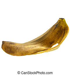 banana skin - fresh banana skin isolated on the white...