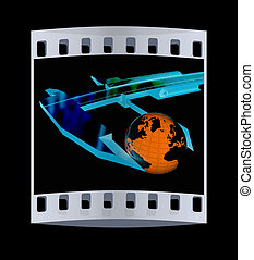 Vernier caliper measures the Earth Global 3d concept The...