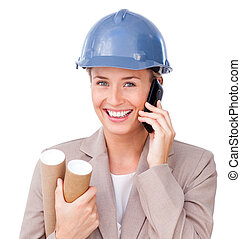 Close-up of a female architect on phone